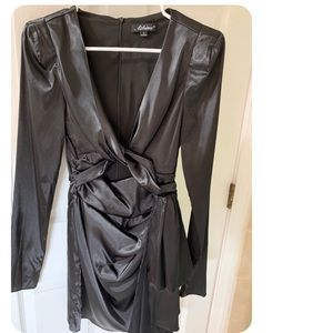 Silk charcoal dress with cut out